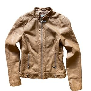 Guess faux leather Tan moto jacket XS